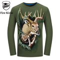 Fire Kirin Mens T Shirts Fashion 2017 3D T-shirt 6XL Men Long Sleeve T Shirts Skull Wolf Deer Dragon Animal Printed Tshirt T427