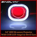 Carro Styling Automóveis Full Metal Q5 H4 ESCONDEU Bi xenon Projetor lente Do Farol + Praça COB LED Angel Eyes Halo & Olho Do Demónio Do Diabo