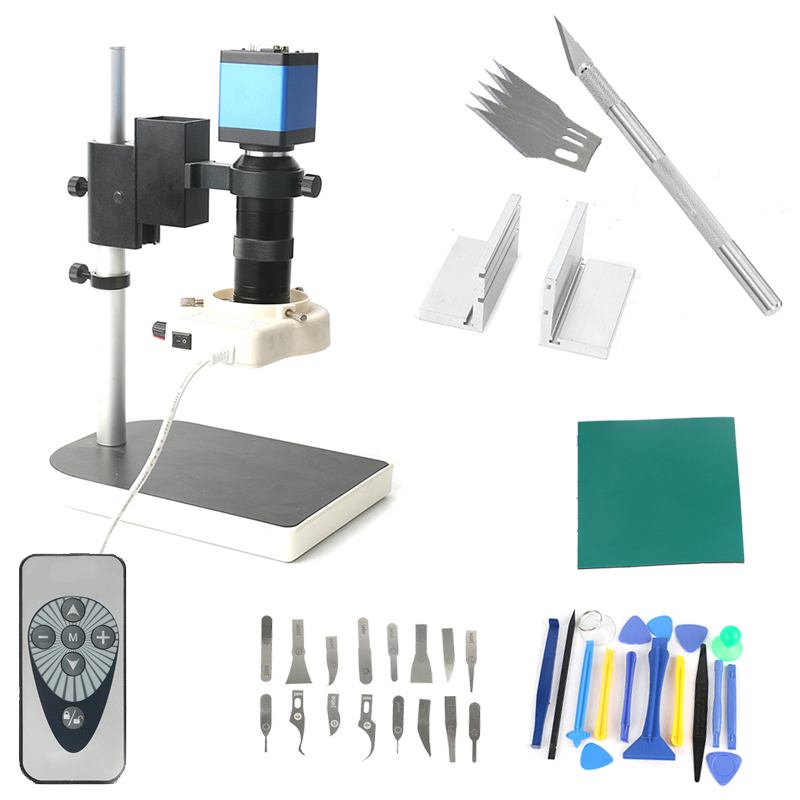 Phone IC PCB Soldering IR Remote Control Digital Electronic HDMI VGA 720p 14MP 100X Zoom Lens Video Microscope Camera Work Set 13mp upgrade 720p 14mp hdmi vga 60f s ir remote control industrial video microscope camera for phone pcb soldering repair