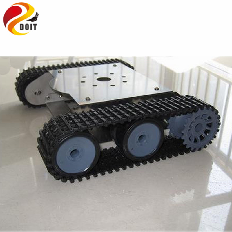 Official DOIT Tank Car Chassis Crawler Robot Smart Car Stainless Steel Body Tank Car for Development Robot,Test Car for DIY official doit wall e tank smart car chassis tracked cars high torque motors and steel structure remote control smart car parts