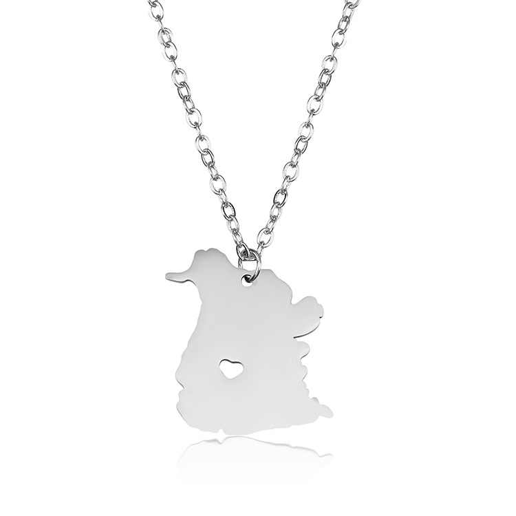 Thả vận chuyển thời trang Thép Không Gỉ Canada necklace New Brunswick Bản Đồ mặt dây chuyền Vòng Cổ I Heart Canada statement Jewelery