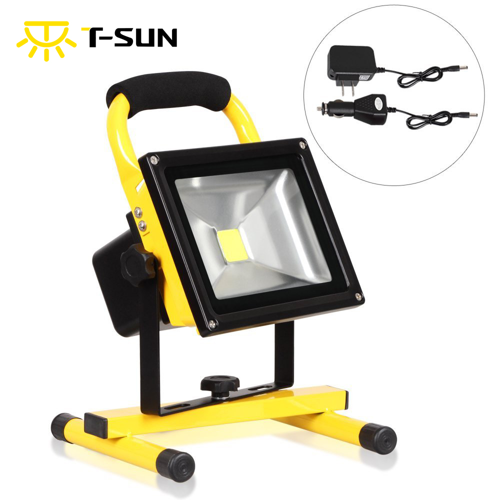 T-SUN 20W LED Rechargeable Portable Work Light Waterproof IP65 Flood Light With Adapter and Car Charger Camping Security Lights