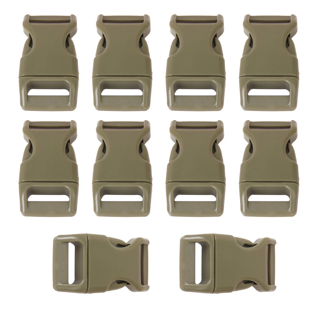 "GSFY-10pcs <font><b>5</b></font>/<font><b>8</b></font>"" Side Release Plastic Buckles for 0.6"" Webbing Straps Army Green"