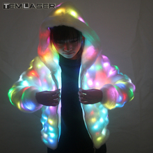 LED bercahaya Faux Fur Coat Lady Bar Dance Show Nightclub Pakaian, LED DJ Costumes. Krismas, Parti Halloween, Cospaly Suit