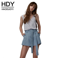 HDY Haoduoyi 2017 New Fashion Summer Sweet Flare Short Women Denim A Line Drawstring High Waist