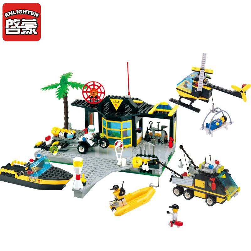 ENLIGHTEN Block City Series Blocks Maritime Rescue Centre Boat Helicopter Set Building Blocks Minis Playmobil Toys For Children enlighten 2017 new 911 970pcs city series fire station rescue control regional bureau building block brick toy toys for children
