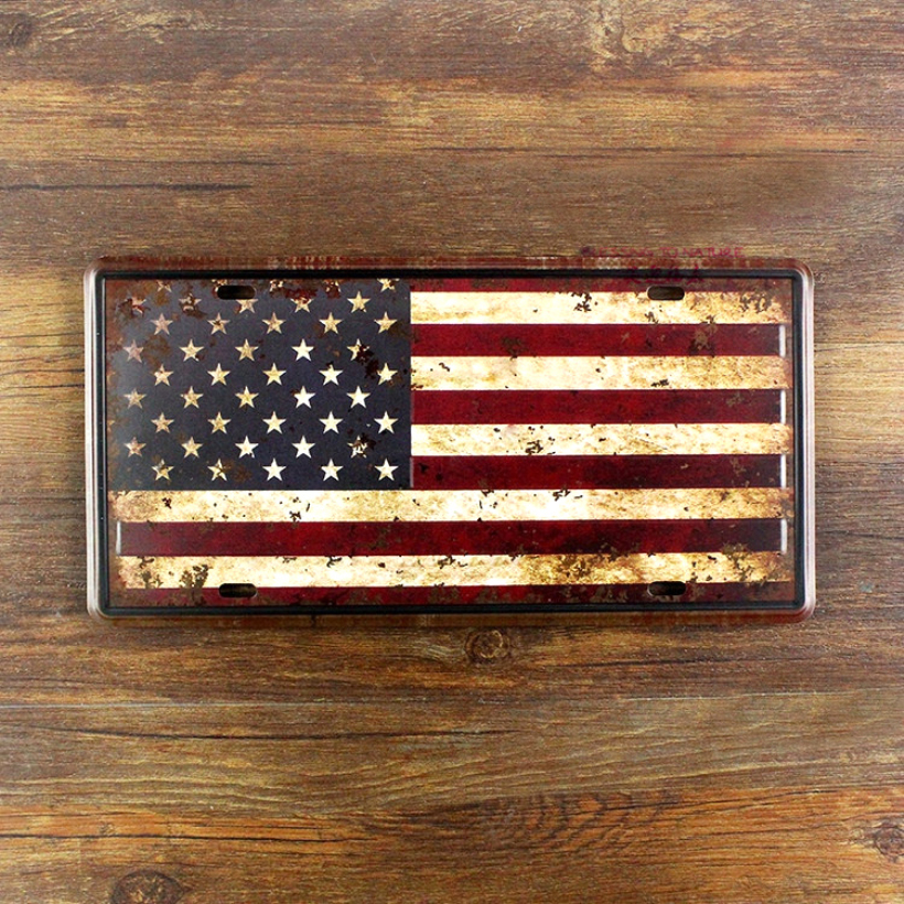 UA-CP-0066 about USA America national flag Vintage metal tin signs License Number car plates painting plaque Bar 30*15 CM