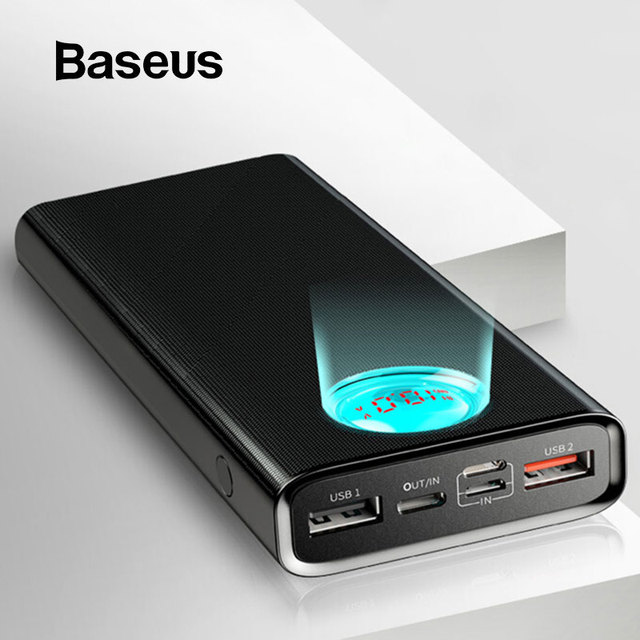 Baseus Quick Charge 3.0 Power Bank 20000mAh Type C PD Fast Charging Powerbank Portable External Battery Charger Pack Poverbank