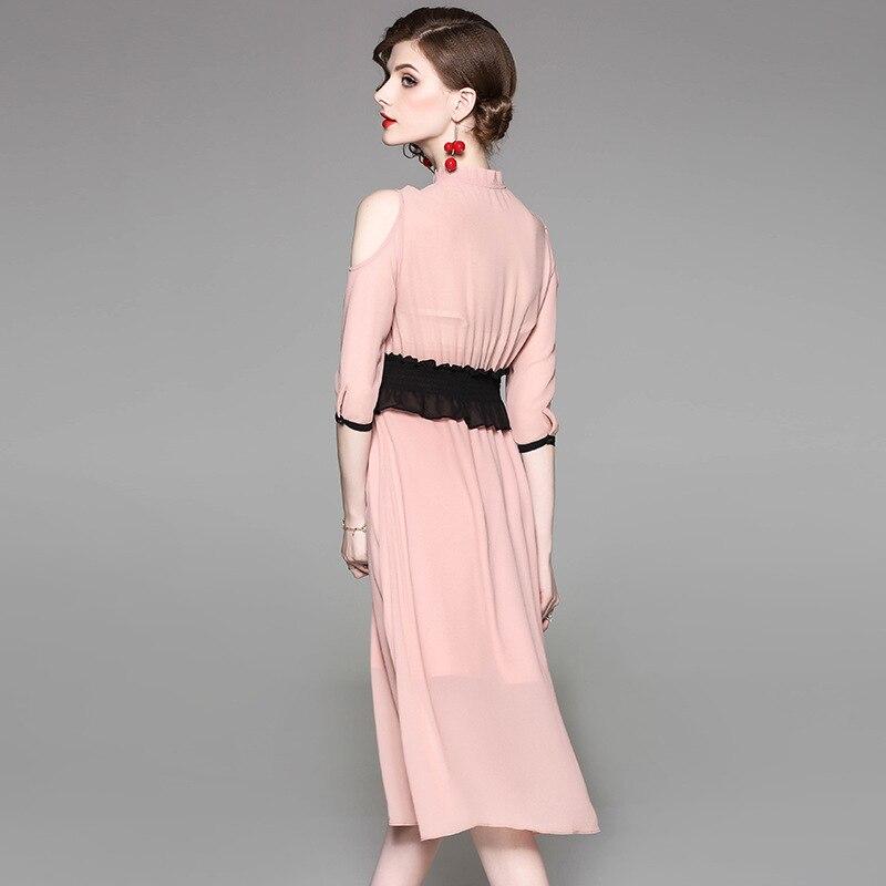 Nueva llegada mujeres de la vendimia vestido blanco rosa encaje ...
