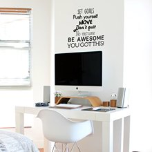 Quote Sentence push yourself be awesome Vinyl Wall Sticker Home Decor For Bedroom Living Room Decoration Art Decal
