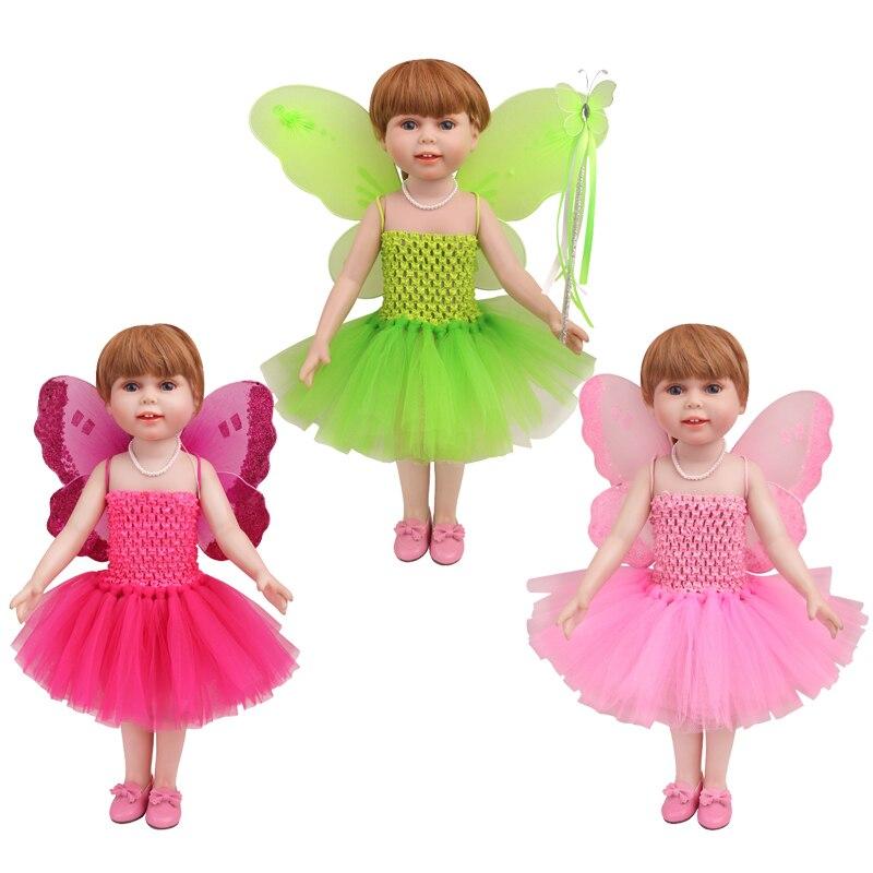 18 pouces filles poupée vêtements Elf costume ailes baguette magique américain nouveau-né robe bébé jouets ajustement 43 cm bébé poupées c778