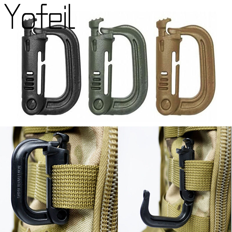 5Pcs/lot  Grimloc Molle Carabiner D Locking Ring  Plastic Clip Snap Type Ring Buckle Carabiner Keychain ITW Fastener Bag Buckle