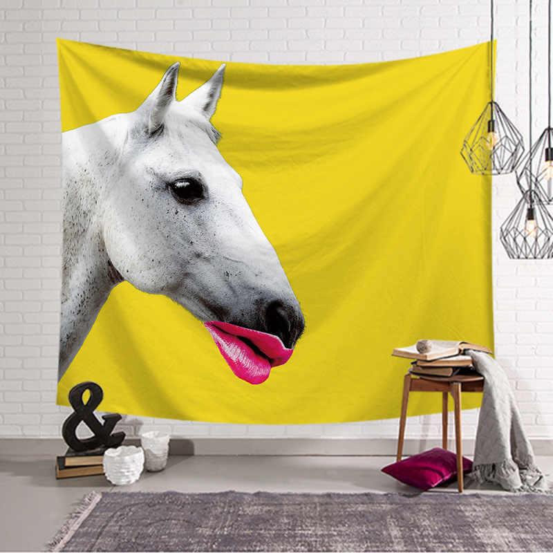 Koń kreskówka gobelin kocyk z tkaniny ścienne joga wiszące zabawny wzór reprodukcja duża 150x130cm ręcznik plażowy dywan ściany dywan