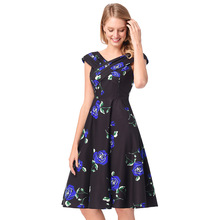 Amazon cross border women s clothing source 2018 spring summer new print  dress Hepburn style 50s retro 03dff873f81f