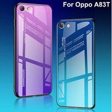 Coque para oppo a83t caso capa de vidro temperado luxo gradiente macio silicone quadro capa traseira para oppo a 83t telefone oppoa83t casos