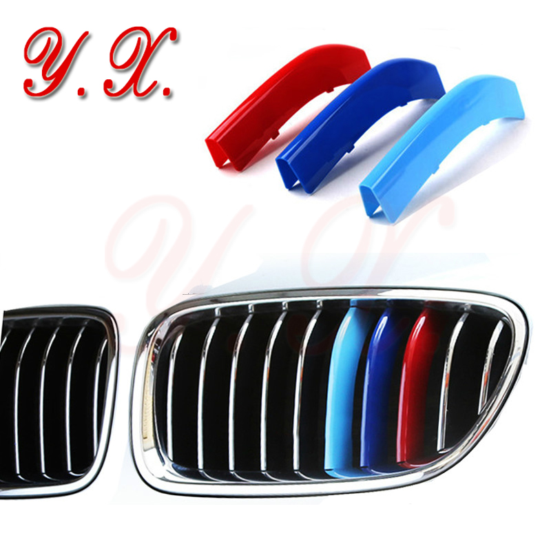 High quality 3D M For BMW Front Grille Trim Sport Covers Performance Sticker For BMW E90 F10 F25 F30 X3 X4 X5 X6 Car Styling soarhorse car styling 3d chrome silver x1 x3 x4 x5 x6 gt z4 letters emblem rear trunk boot badge logo sticker for bmw