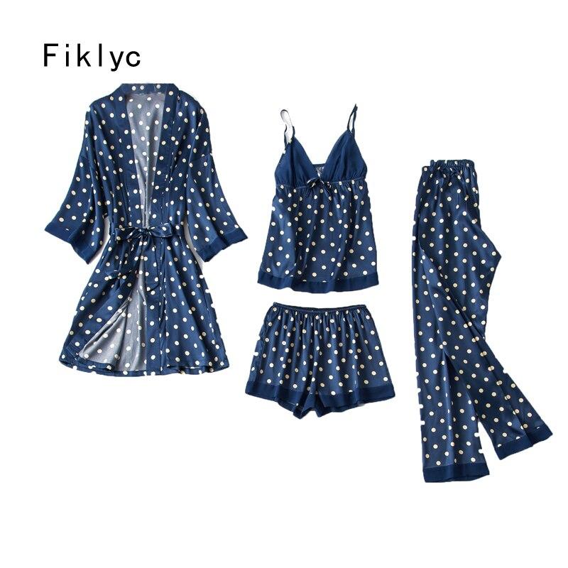 Fiklyc sous-vêtements femmes été quatre pièces pyjamas ensembles avec dot décoration mode 2019 nouveau design satin femme vêtements de nuit sexy