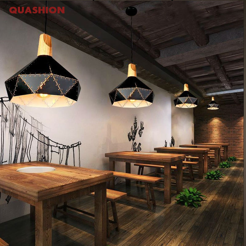 Black white iron retro pendant lamps wood&metal diamond lampshade industrial hanging light cafe/dining/living room light fixtrue loft style vintage pendant lamp iron industrial retro pendant lamps restaurant bar counter hanging chandeliers cafe room