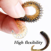 5Pcs 2g/8cm Fishing Lure artificial Soft Bait Silicone Bass Minnow Bait soft worm curly tail grub Jig Head Fly Fishing Pasca