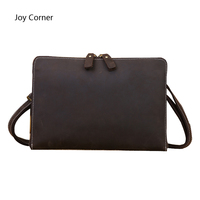 Joy Corner Leather File Folder Luxury Business Document Bag Filing Meeting Handbag Zipper Layer Pocket Office