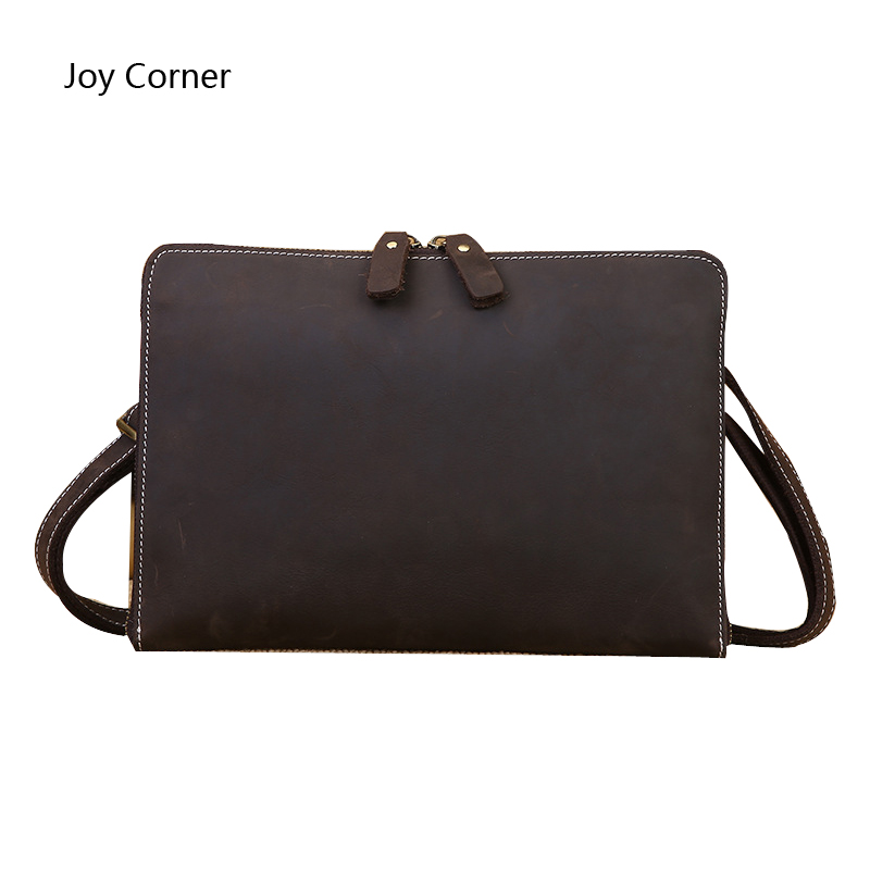 Joy Corner Leather File Folder Luxury Business Document Bag Filing Meeting Handbag Zipper Layer Pocket Office Briefcase Supplies vintage pu leather office file folder padfolio men password lock business meeting document bag folders padfolios