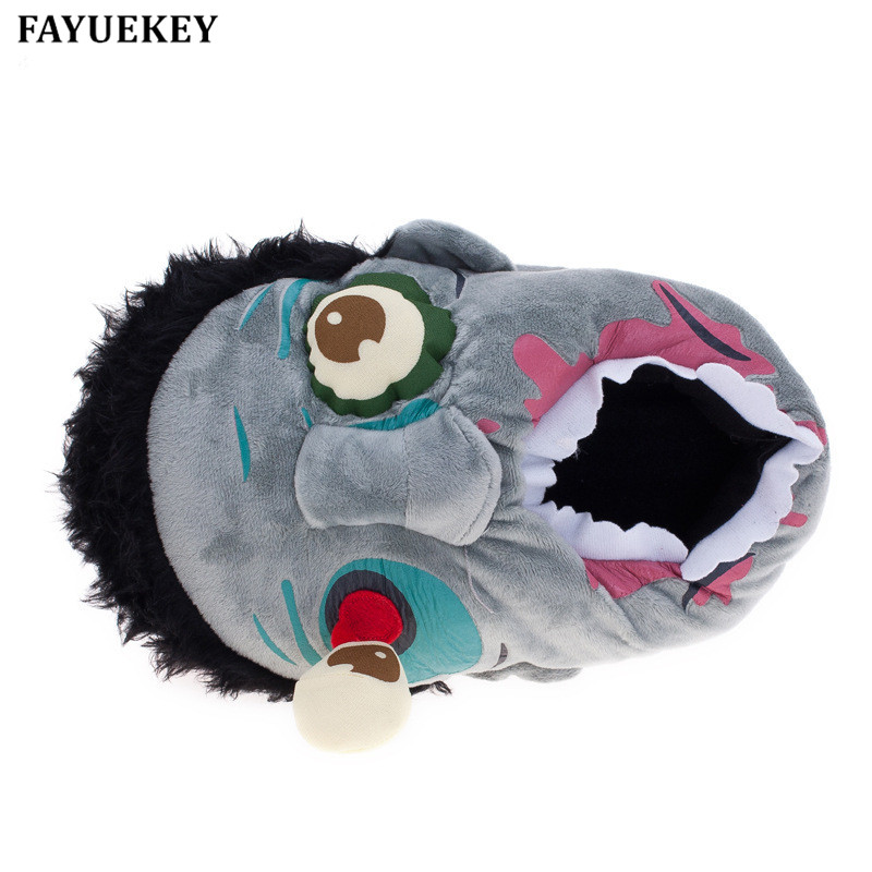 FAYUEKEY New Winter Home Cartoon Halloween Scary Zombies Tøfler Lovers Bomuld Overdækket Back Heel Warm Floor  Indoor Flat Shoes