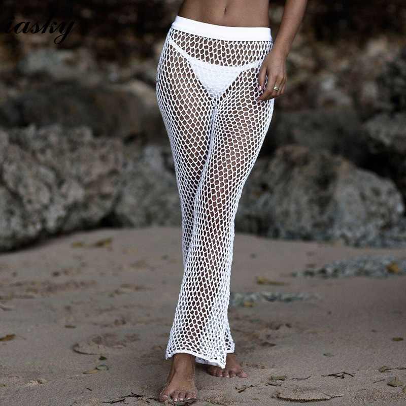 ccfea72821 IASKY Handmade Knitted fish Net beach pants 2018 New sexy Bikini Swimsuit  cover ups Bathing Suit