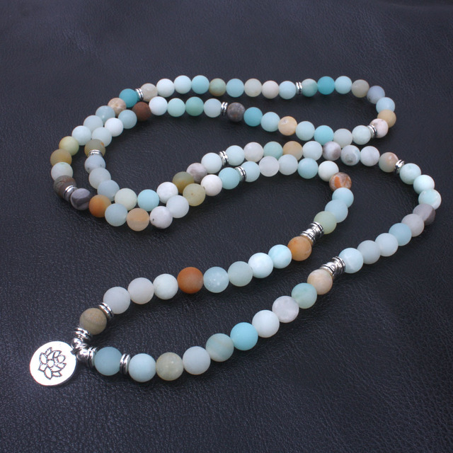 Collier Mala Amazonite bleu