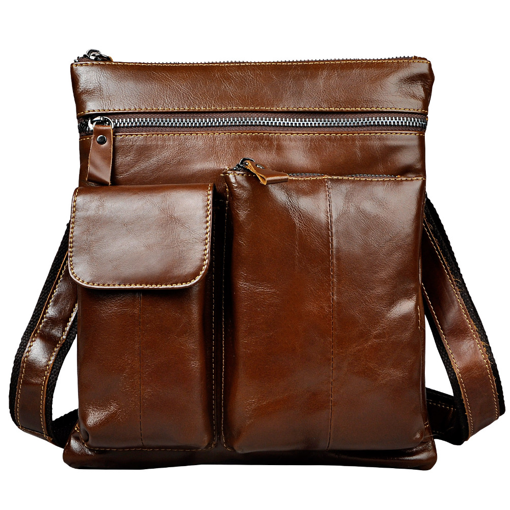 New Fashion Real Leather Multifunction Male Casual messenger bag Satchel cowhide 9 Pad Cross-body Shoulder bag For Men 308