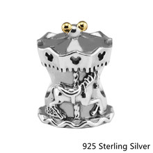 Authentic 925 Sterling Silver Jewelry Carousel font b Gold b font Fashion Charms Beads Fits Women