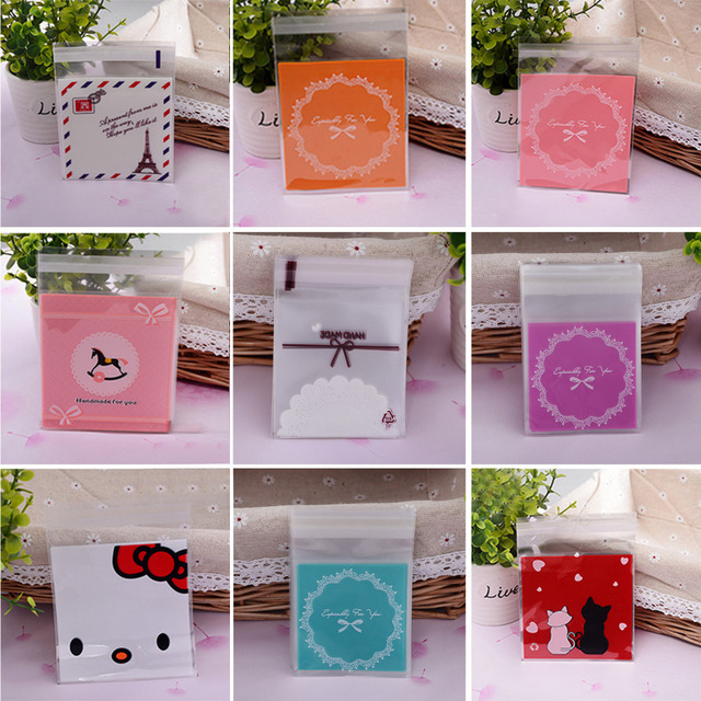 100ps/set 10x10cm Cute Self-adhesive Gift Food Packing bags Dots Small Biscuit bags Cookie Packaging Lace Candy Plastic Bags