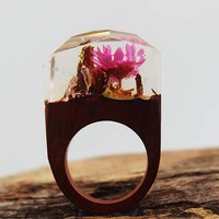Danze New Design Fashion Clear Resin Wooden Rings For Women Vintage Handmade Unique Dried Flower Ring
