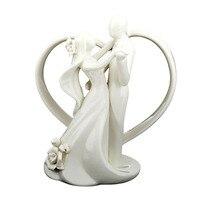 Romantic Bride And Groom Wedding Dance Couple Figurine Cake Topper Hug Ceramic Decor