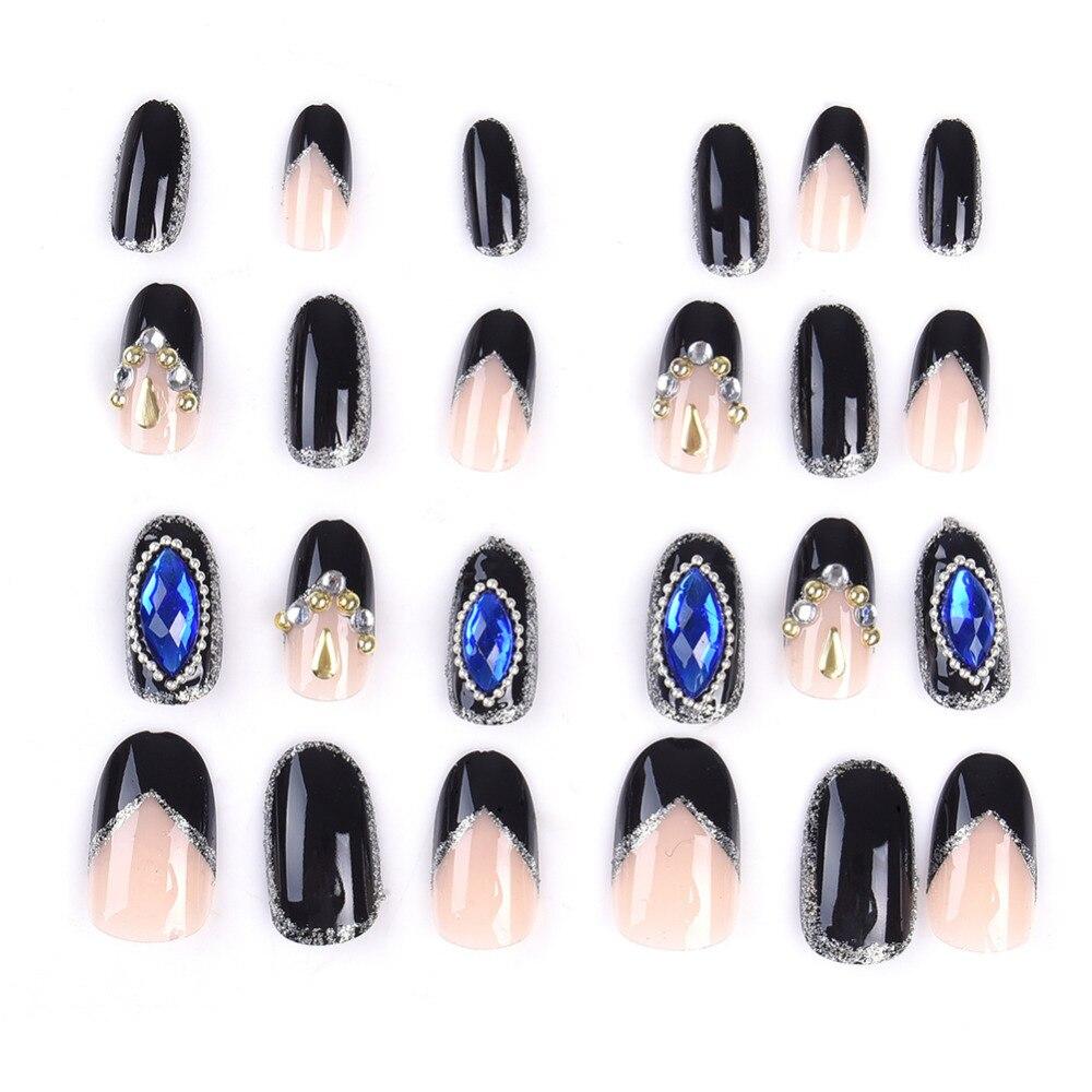 24 Stücke Blue Diamond Künstliche Nägel Französisch Tipps Stiletto ...