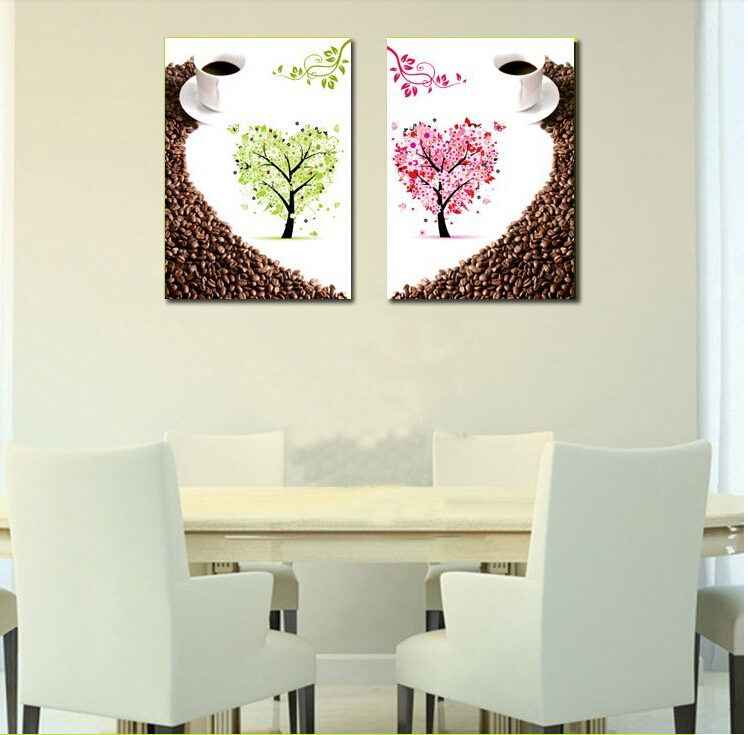 2 Panel Decorative Canvas Painting Modern Large Wall Pictures For Home Dinning House Cafe Shop Room