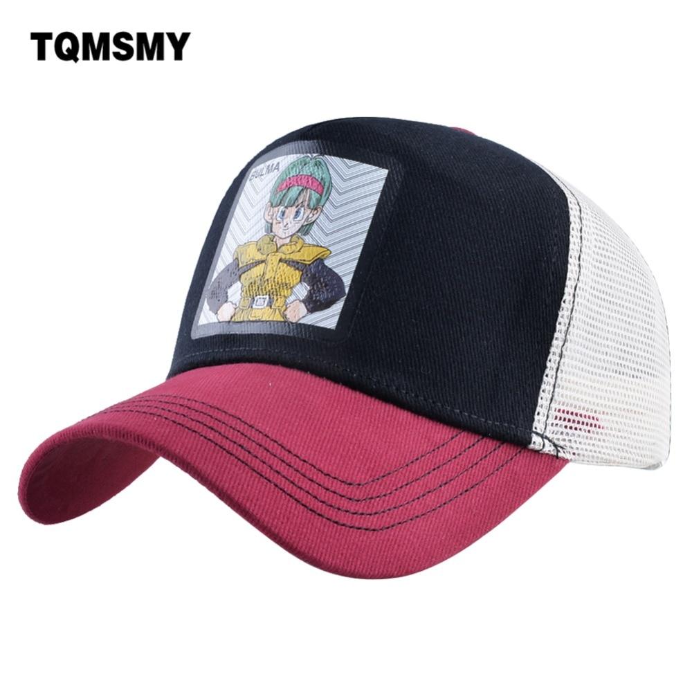 TQMSMY Summer Men's Mesh Trucker Hats Anime Character BULMA Women   Baseball     Cap   Men Snapback Hat Adjustable Gorras TMDH101