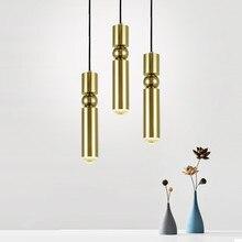 Современный медный цилиндр Led подвесные светильники столовая гостиная светодиодная Подвесная лампа B подвесная осветительная арматура