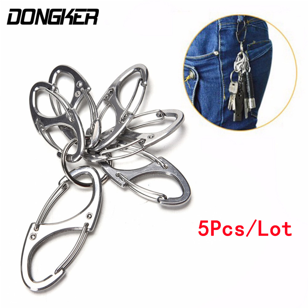 5Pcs/Lot Mini 8 Shape Portable Metal Carabiner Ring Outdoor EDC Tool Release Buckle Key Chain Hook Hang Camping Hiking Snap Clip
