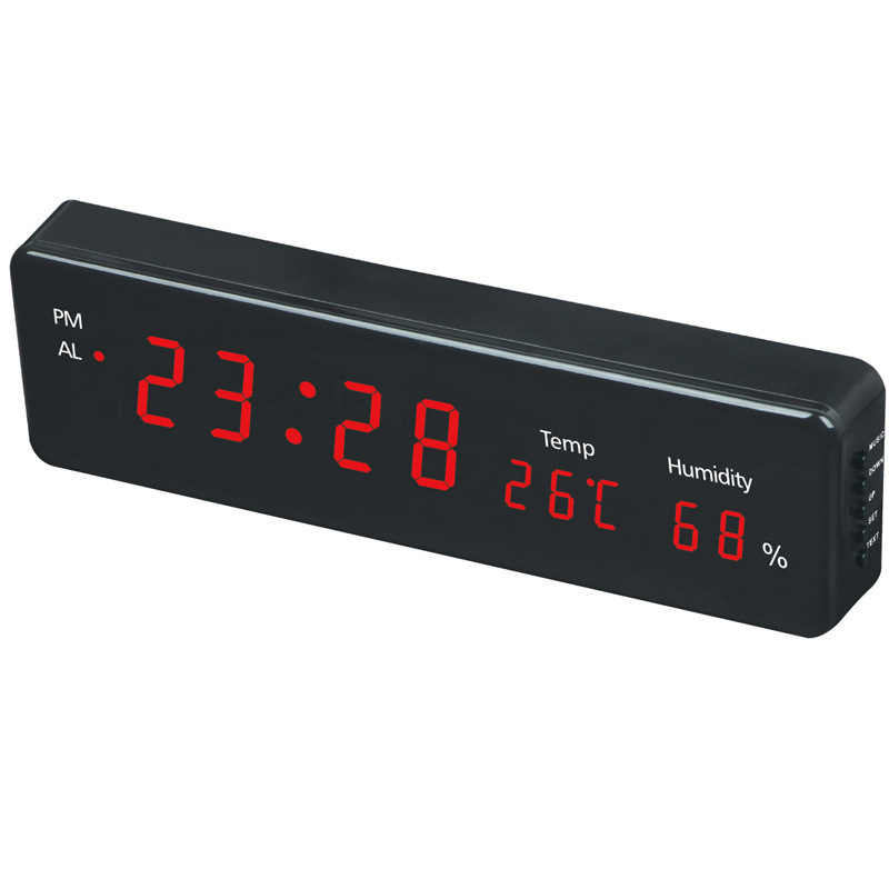 Электронный светодиодный цифровой настенные часы с дисплей температуры влажности дома современные украшения дома часы TB продажа
