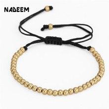 NADEEM Fashion Men Handmade Macrame Bracelet Bangle Jewelry 4MM Copper Beads Women Braided Strand Woven Charm Bracelet Jewelry braided strand bracelet watch