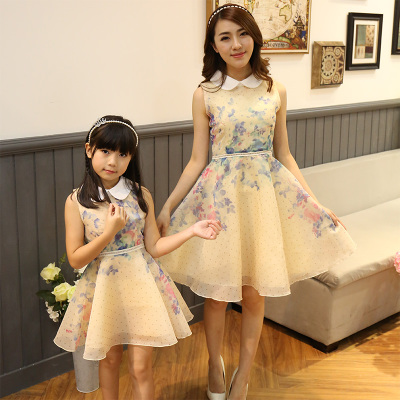 ФОТО Parent-child outfit summer 2016 new doll brought cotton organza sweet mother and daughter princess dress