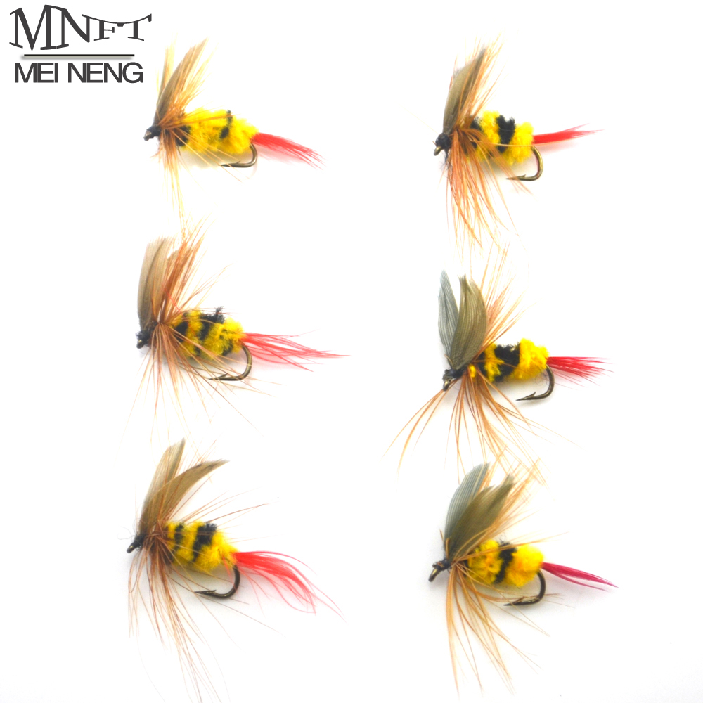 MNFT 6PCS 10# Flies Lure bee fishing Yellow and Black Bumble Bee Fly Insect Artificial Fishing Bait Dry Fly for Trout Fishing wifreo 10pcs 10 black zebra mosquito fly trout fishing dry flies fly fishing bait lures
