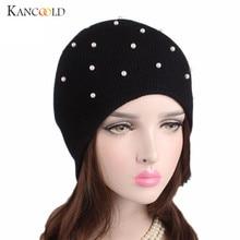 Gorras sombrero femenino mujeres beanie turbante womens invierno sombreros  con perla femenina visera sombrero caliente gorros 545c4da4250