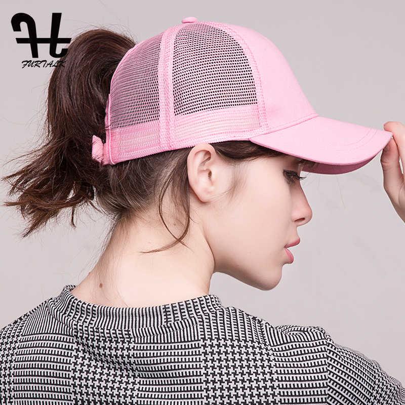 a2f29ef82 FURTALK Baseball Cap Women Sports High Ponytail Messy Bun Cap Baseball Cap  Outdoor Summer Sun Protection Hat Cap