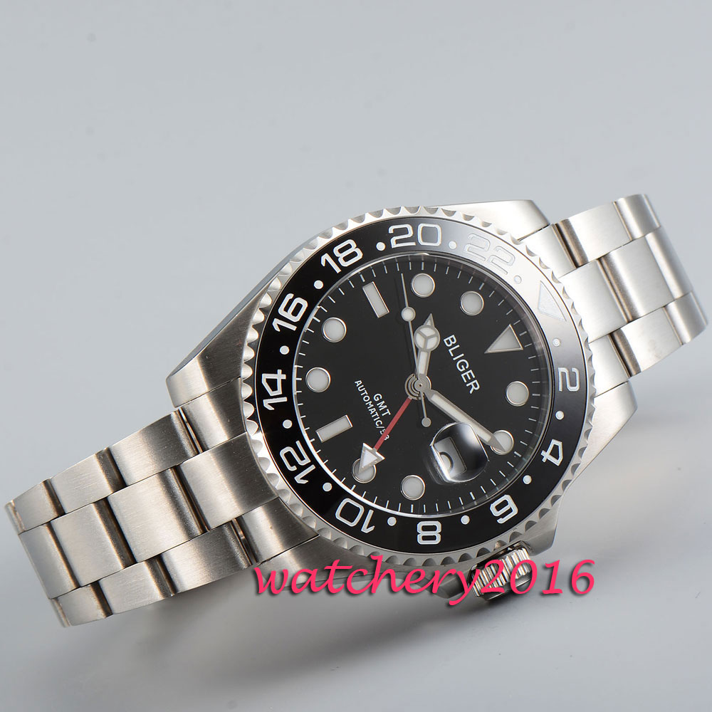 лучшая цена Fashion 43mm Bliger sapphire glass black dial date deployment clasp GMT Automatic movement Men's Watch
