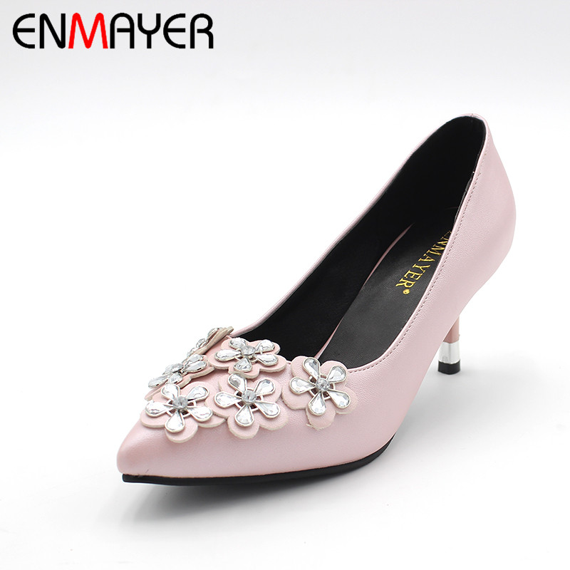 ENMAYER Crystal Flowers High Heels Elegant Slip-On Cover Back Pumps Pointed Toe Thin Heels for Basic Office Ladies Woman Shoes enmayer mirror med heels crystal flowers square heels pointed toe dress slip on pumps elegant shallow spring8autumn woman shoes