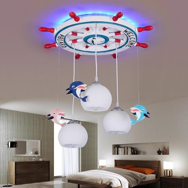 Acrylic Mediterranean Rudder Kids Pendant Lamp Wooden Led Lights Children S Room Cartoon Resin E27