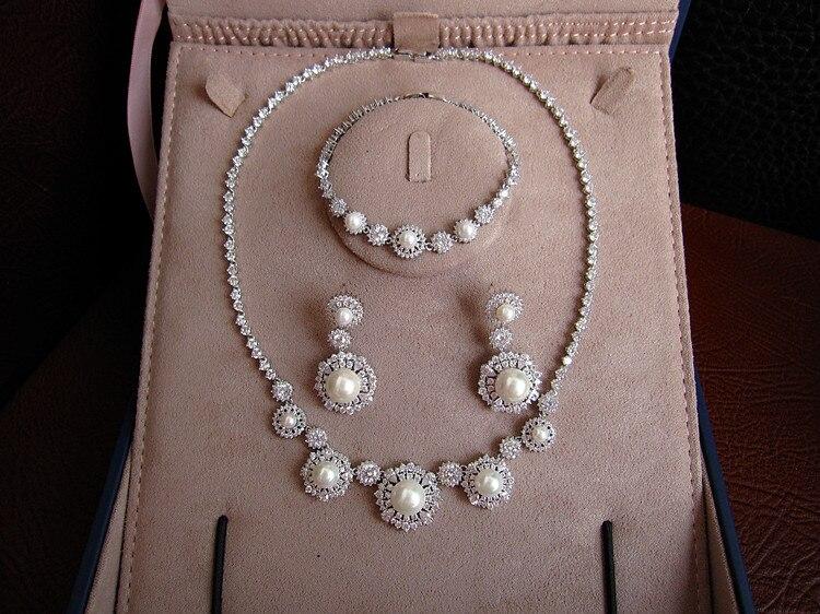 Offre spéciale mode AAA zircon cubique avec collier de perles boucles d'oreilles et bracelet ensemble de bijoux, S6533