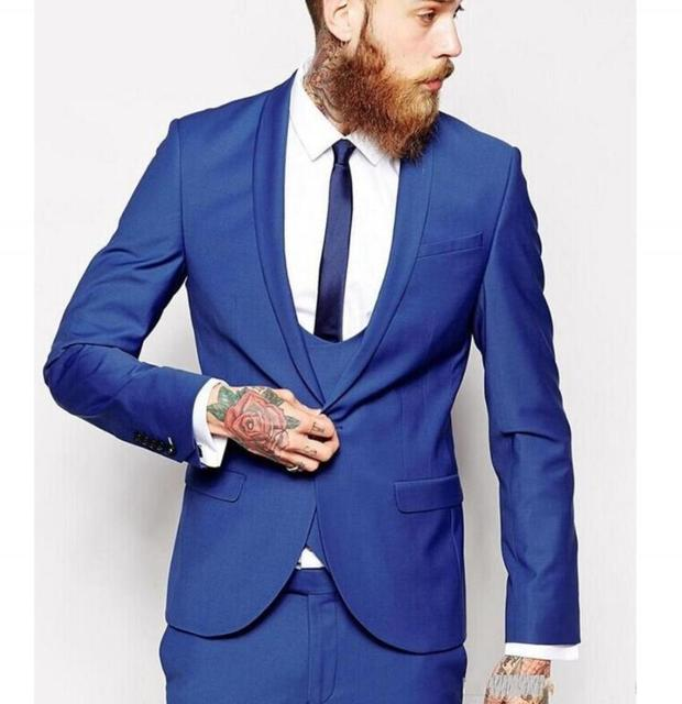 Blue Color Male Suit Shawl Lapel One On Tie Groomsman Tuxedos Men Wedding Suits New Business