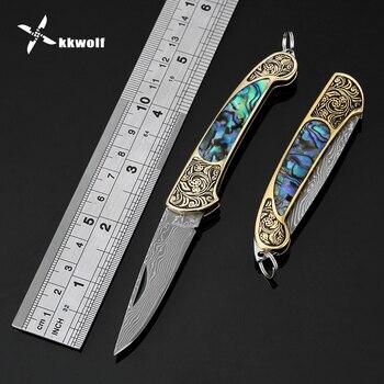 Kwolf Damasco acero plegable cuchillo de bolsillo portátil Camping supervivencia táctico cuchillos colorido abulón shell mango EDC